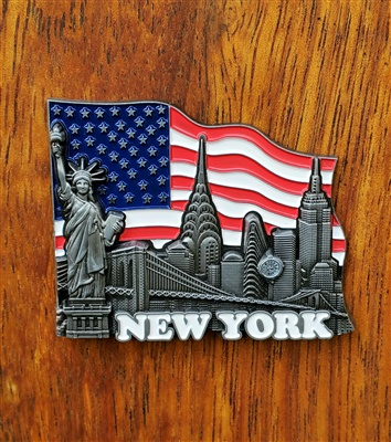 New York City Flag Magnet Silver