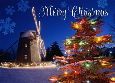 Watermill Windmill Christmas Cards